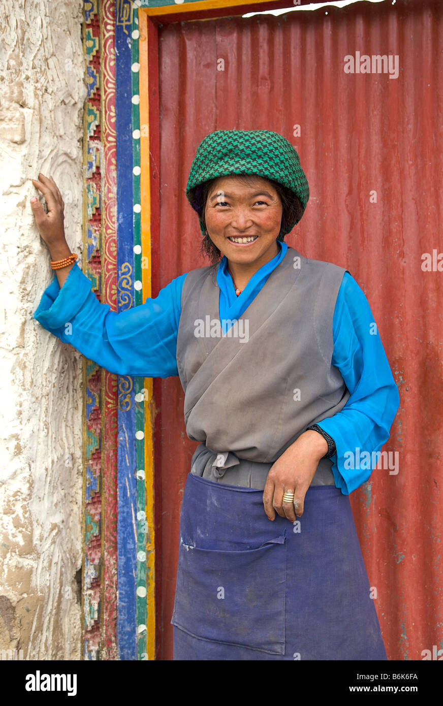Tibetan woman in local style of dress. Tibet - Stock Image