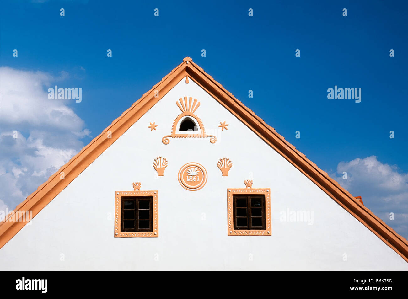 CZECH REPUBLIC SOUTHERN BOHEMIA VILLAGE HOLASOVICE - Stock Image