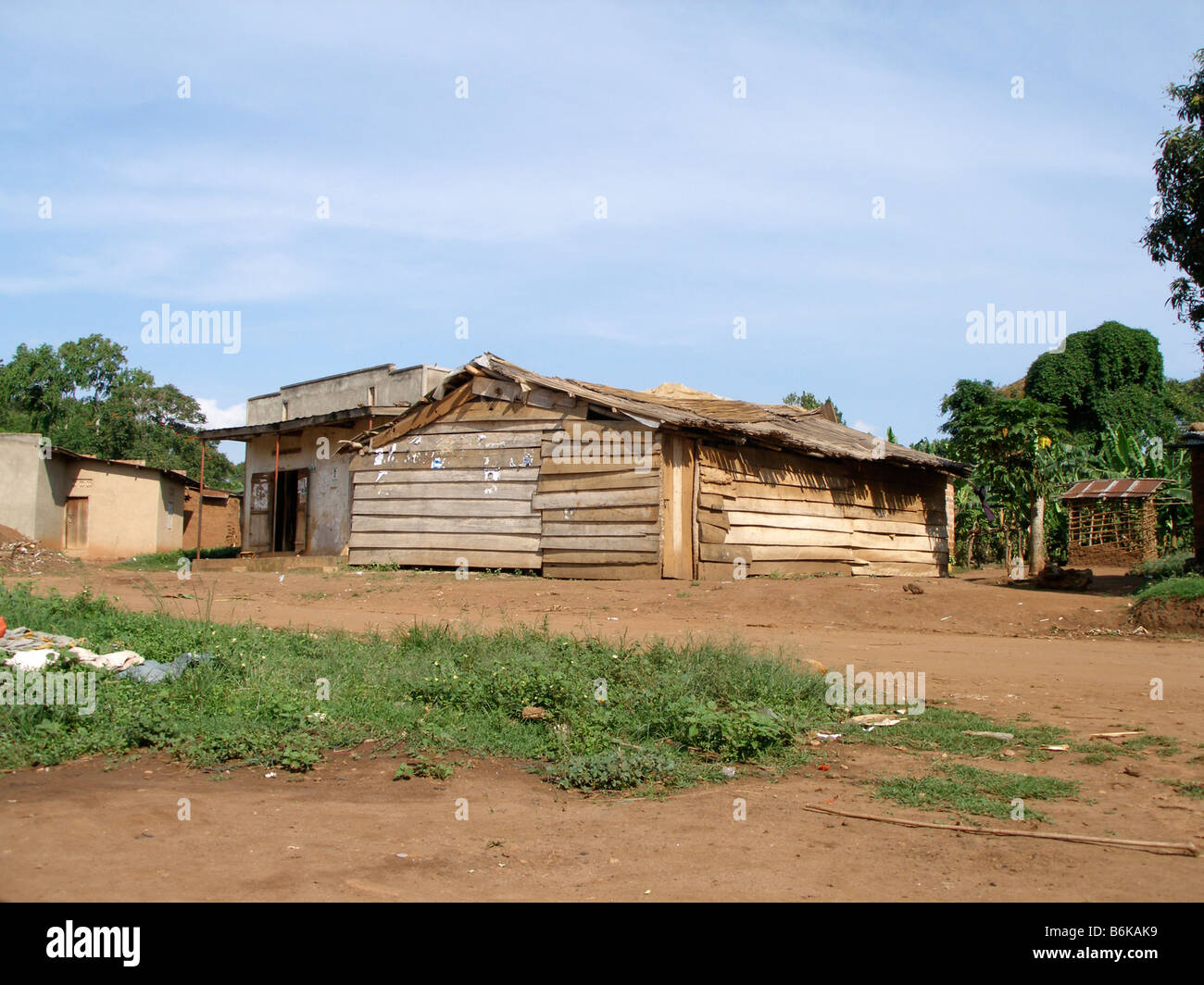 A makeshift local born again pentecostal church in a rural area of Uganda - Stock Image