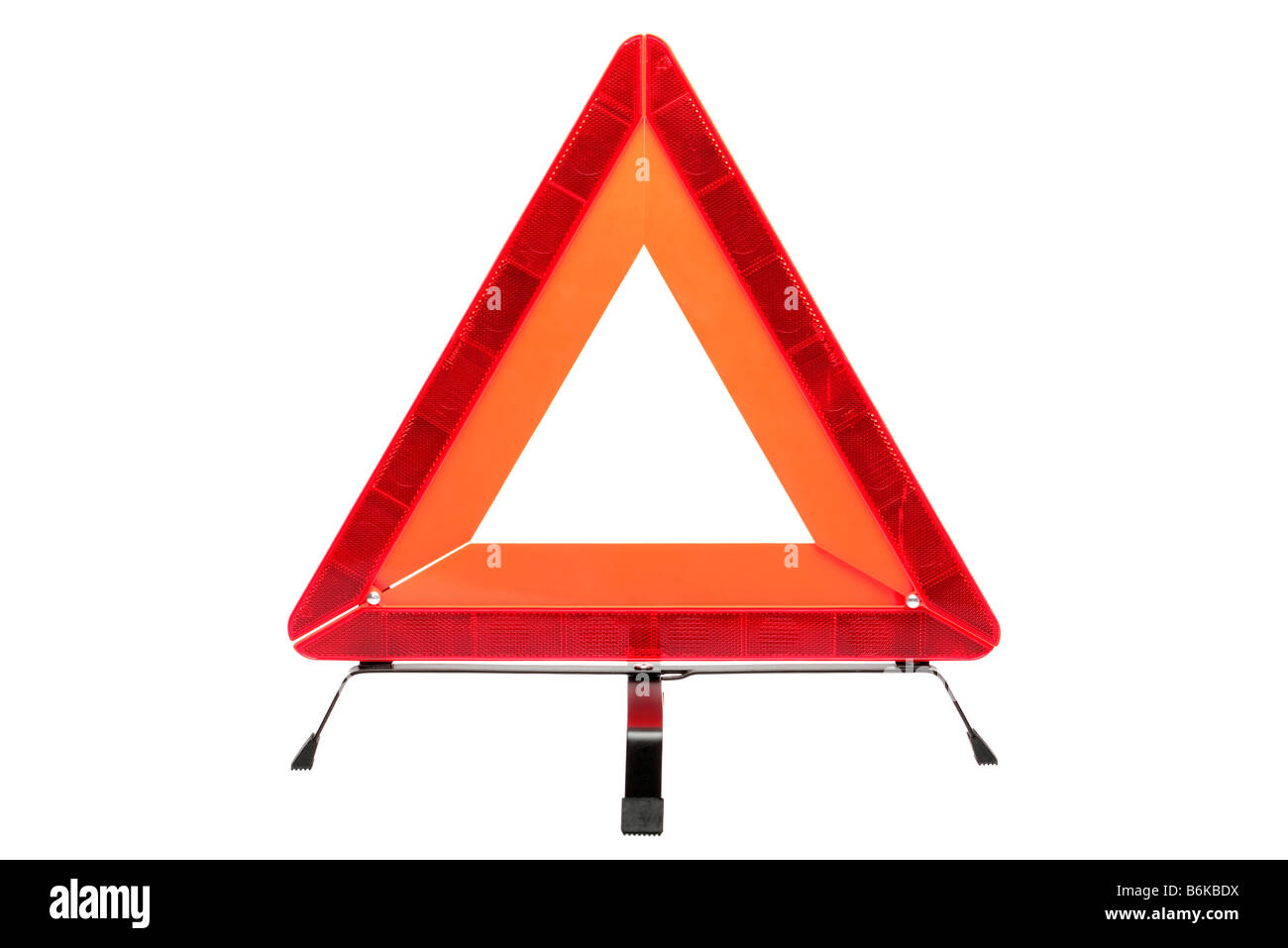 Hazard warning triangle isolated on a white background - Stock Image