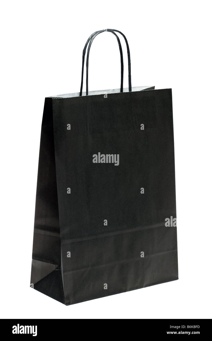 Black paper shopping bag isolated on a white background - Stock Image