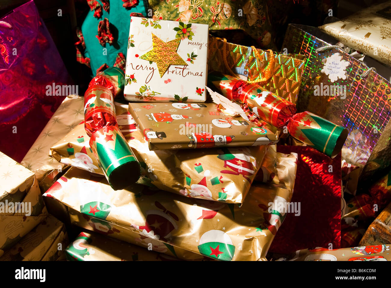 Christmas presents in a pile. - Stock Image