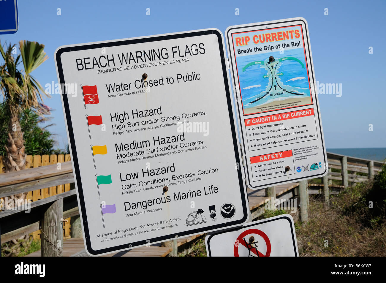 Beach warning flags and rip tide instruction notice  Safety