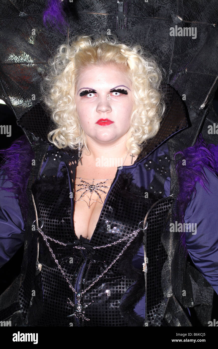 hedonist vampire witch pagan paganism thames festival carnival festival street theatre london england uk - Stock Image