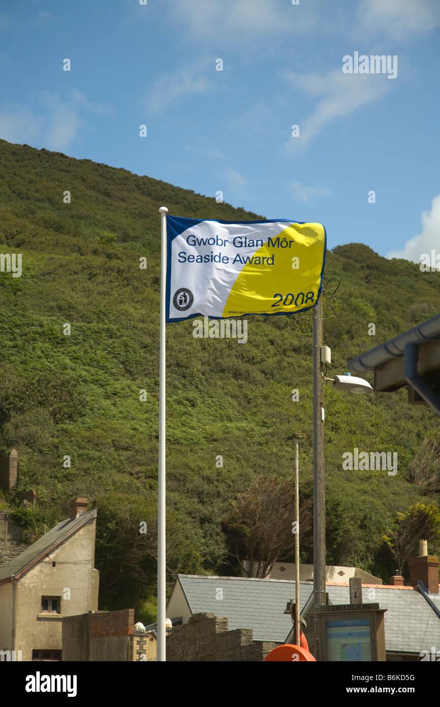 Llangrannog Beach Cardiganshire Cardigan bay Wales UK Clean Beach flag - Stock Image