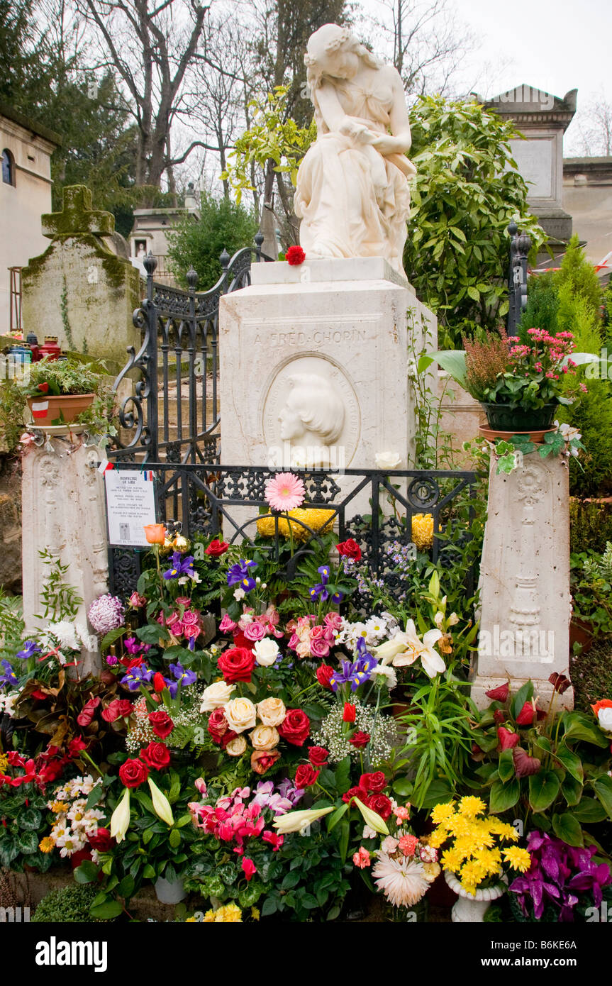 The grave of Frederic Chopin in Pere Lachaise cemetery in Paris France - Stock Image