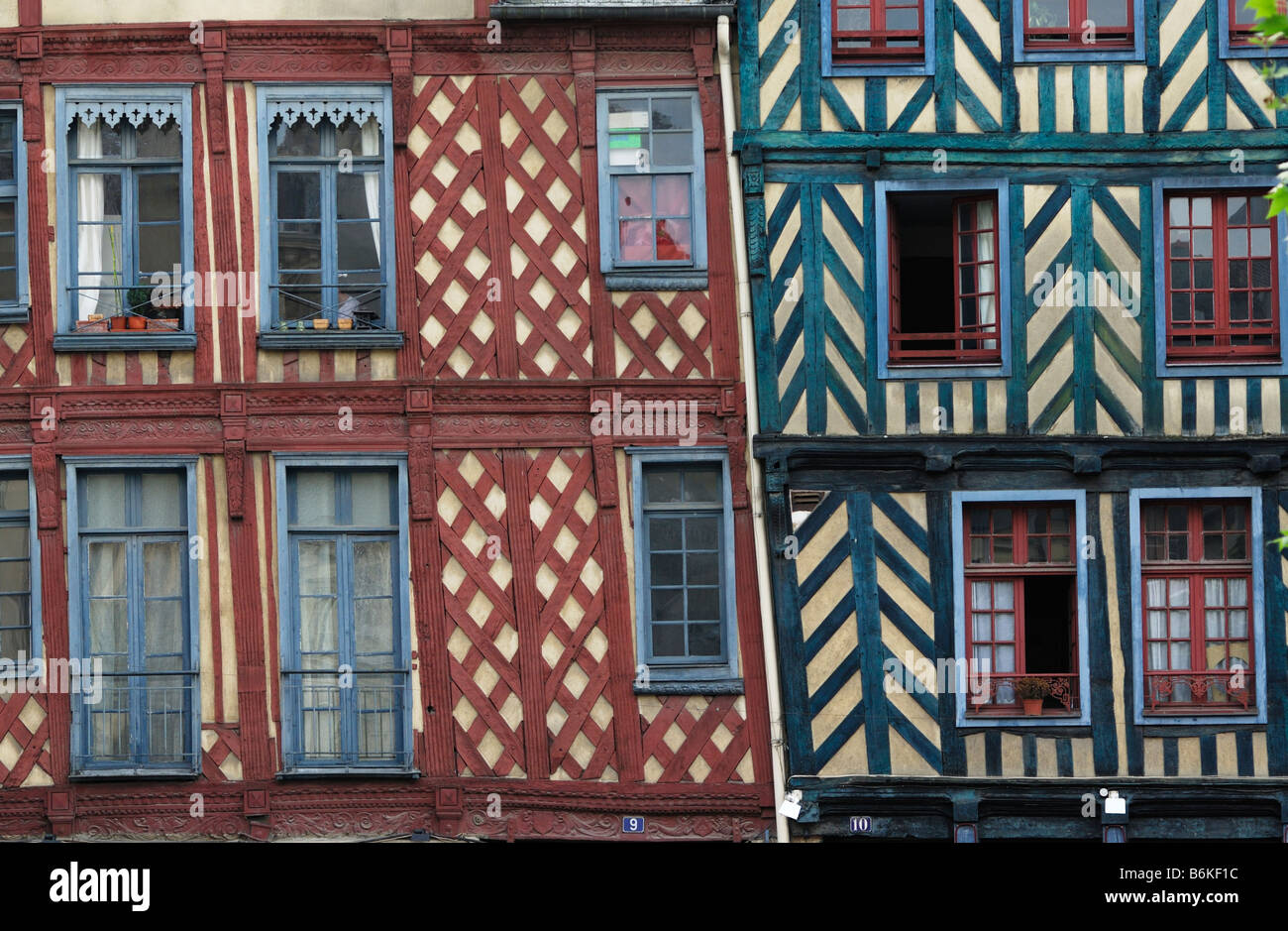 Rennes Brittany France Colourful medieval half timbered buildings on Place Sainte Anne - Stock Image