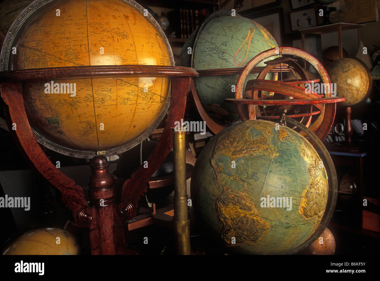 globes collection round information cartography old stil life - Stock Image