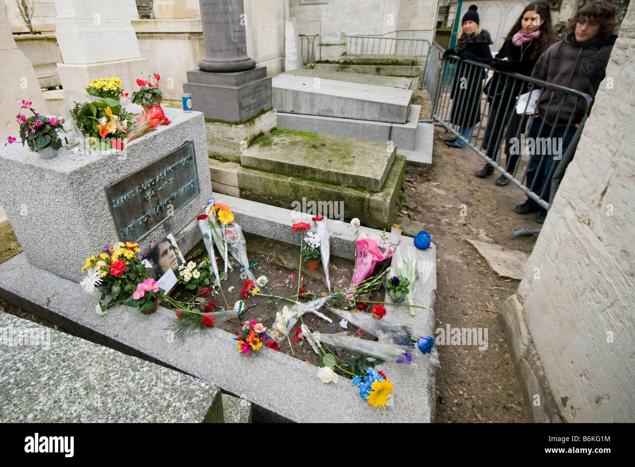 The grave of Jim Morrison in Pere Lachaise cemetery in Paris France - Stock Image
