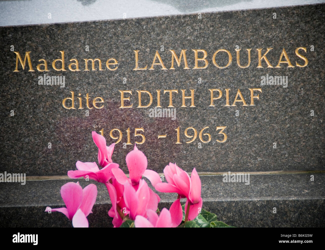 Grave of Edith Piaf at the Pere Lachaise Cemetery Paris France - Stock Image