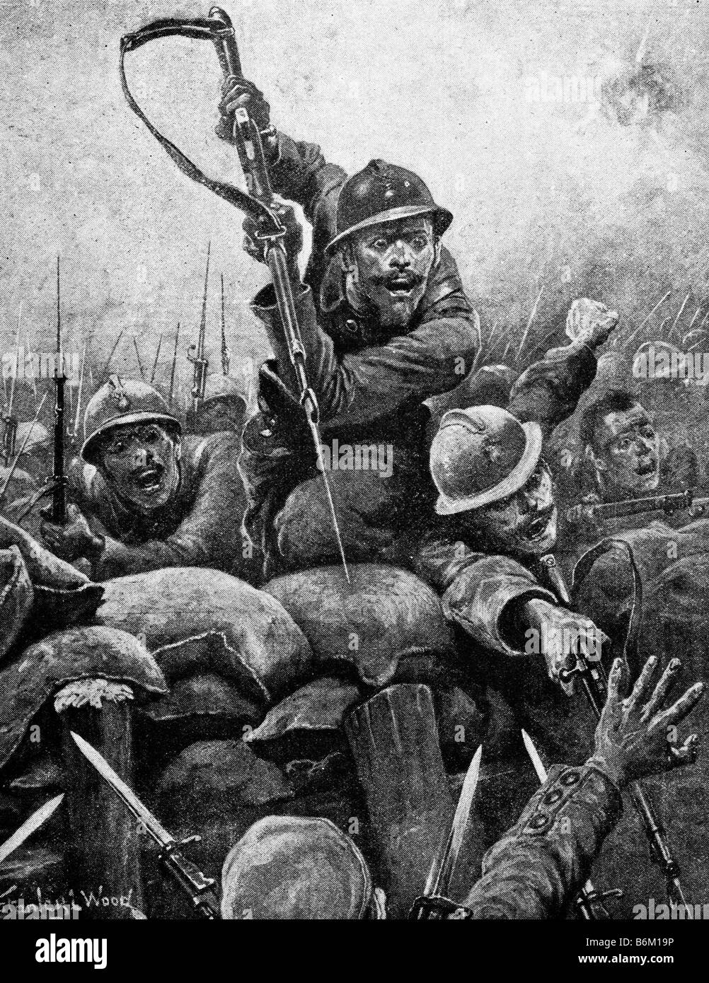 Contemporary World War One Illustration Of French Soldiers Storming