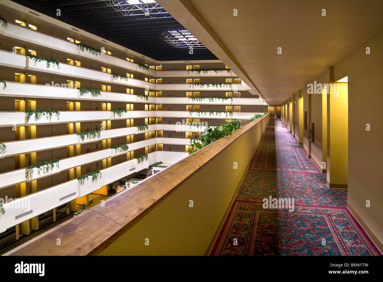 hotel interior hallway atrium fresno california usa stock photo
