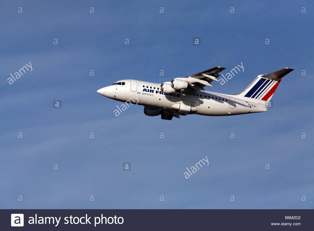 Cityjet flight shortly after takeoff - Stock Image
