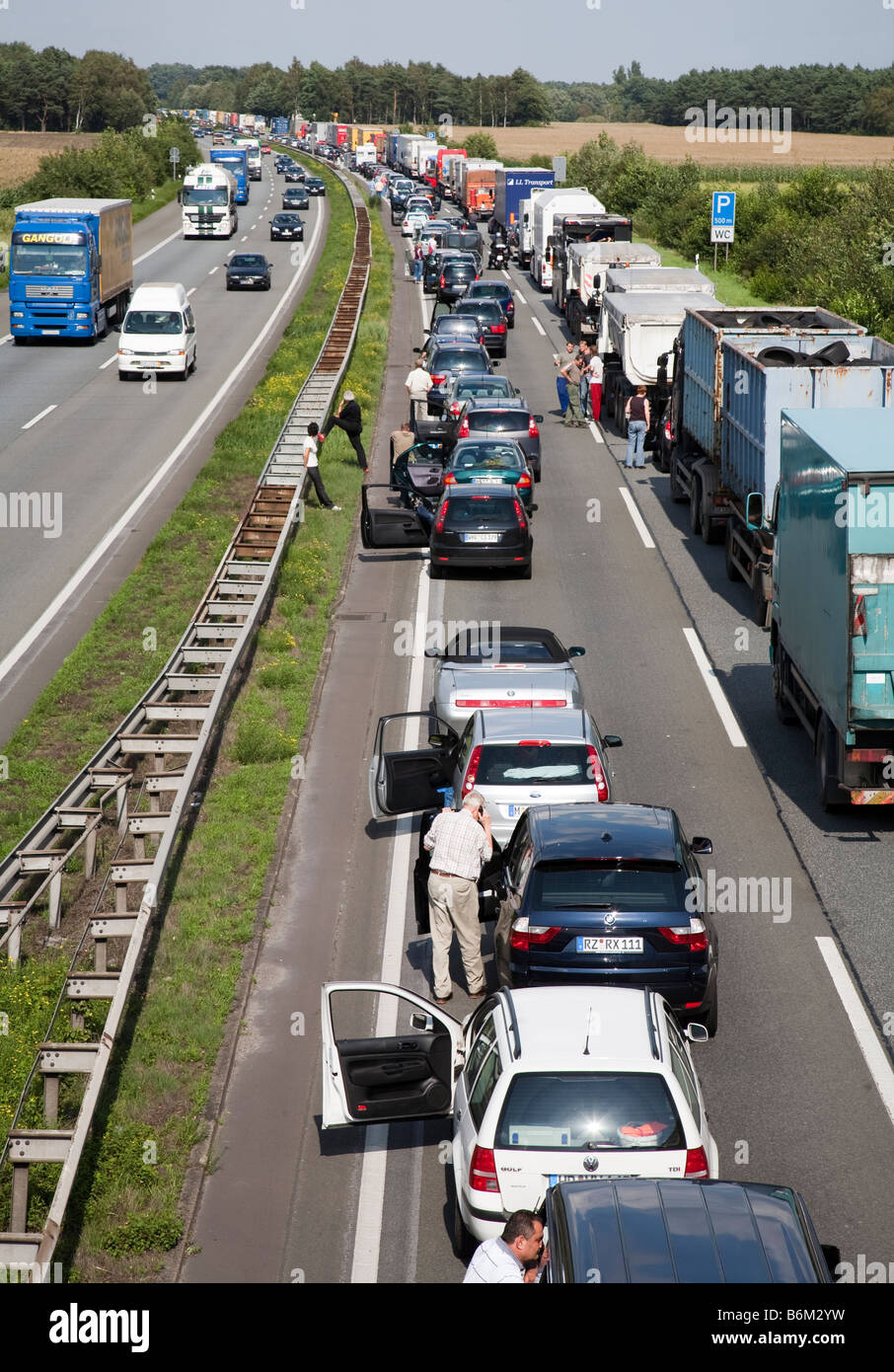 Traffic jam at dead stop on autobahn Germany Stock Photo