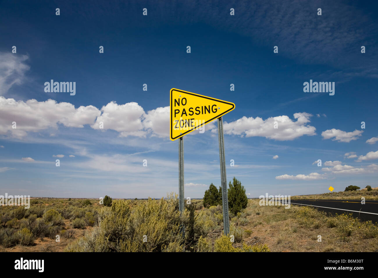 Road sign no passing zone, USA - Stock Image