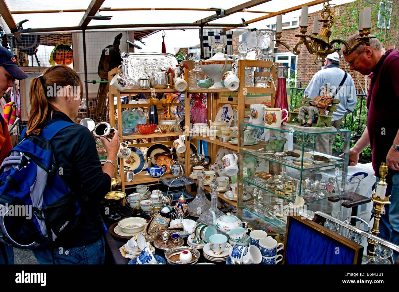 Portobello Road Market Notting Hill London antique - Stock Image