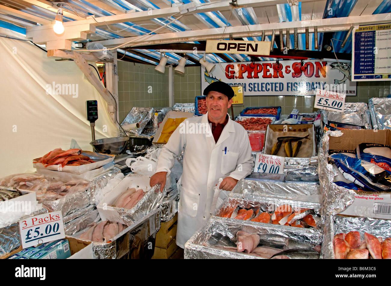 Portobello Road Market Notting Hill London Fish Monger G Piper and Son Stock Photo