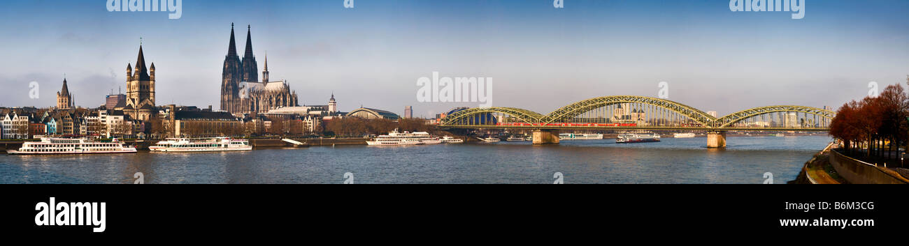 A wide panorama of the city of Cologne from across the Rhine river, Germany - Stock Image