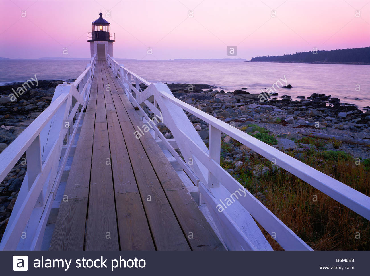 Marshall Point Light lighthouse originally constructed in 1832 rebuilt 1857 Penobscot Bay Maine - Stock Image