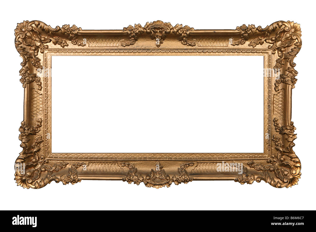Elaborate Golden Picture Frame Isolated on White Easily Extracted - Stock Image