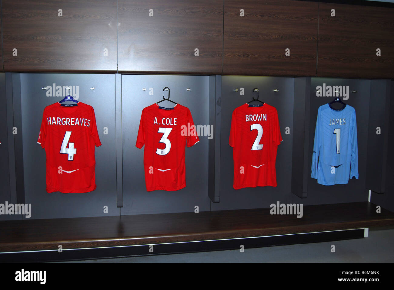 shirts of hargreaves cole brown and james in the new wembley stadium dressing rooms waiting to be worn number 2698 - Stock Image