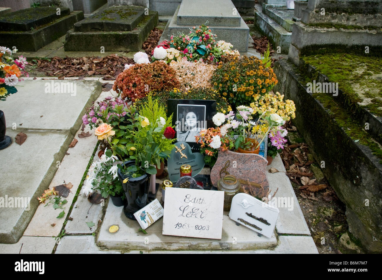 The Grave of Edith Lefel at the Pere Lachaise Cemetery Paris France - Stock Image