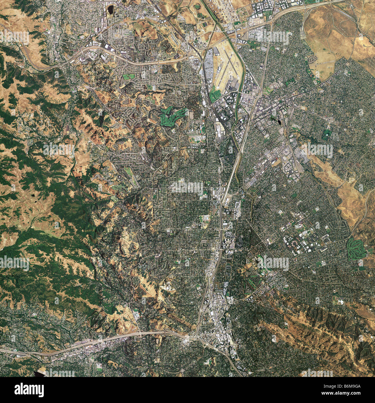aerial map view Walnut Creek and Concord California - Stock Image