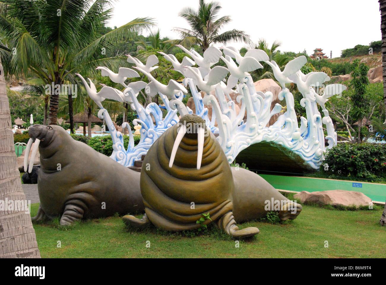 Walrus and fountain, Vin Pearl Amusement Park, Nha Trang, Vietnam - Stock Image