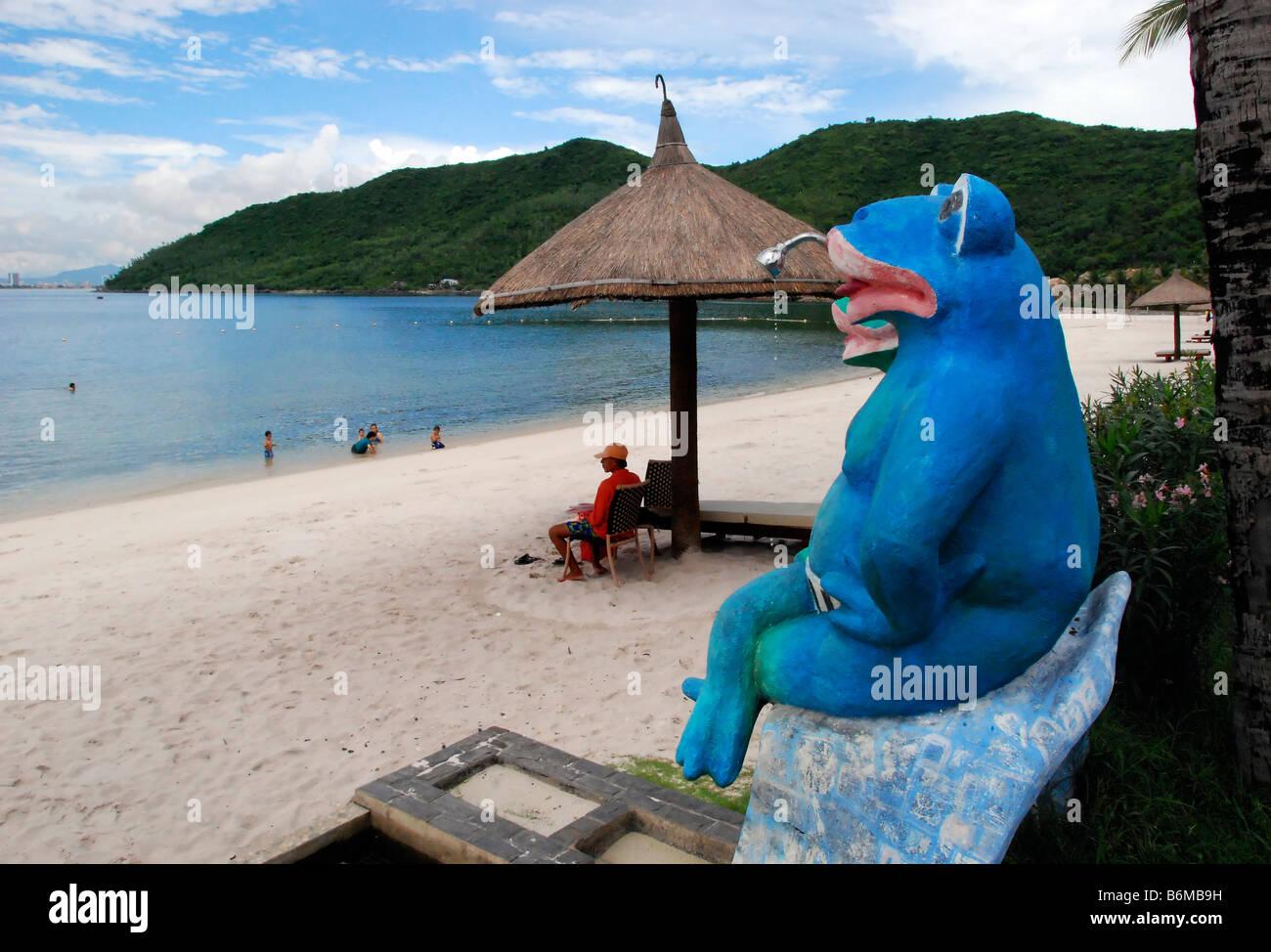 Giant Flog and beach, Water slide, Vin Pearl Amusement Park, Nha Trang, Vietnam - Stock Image