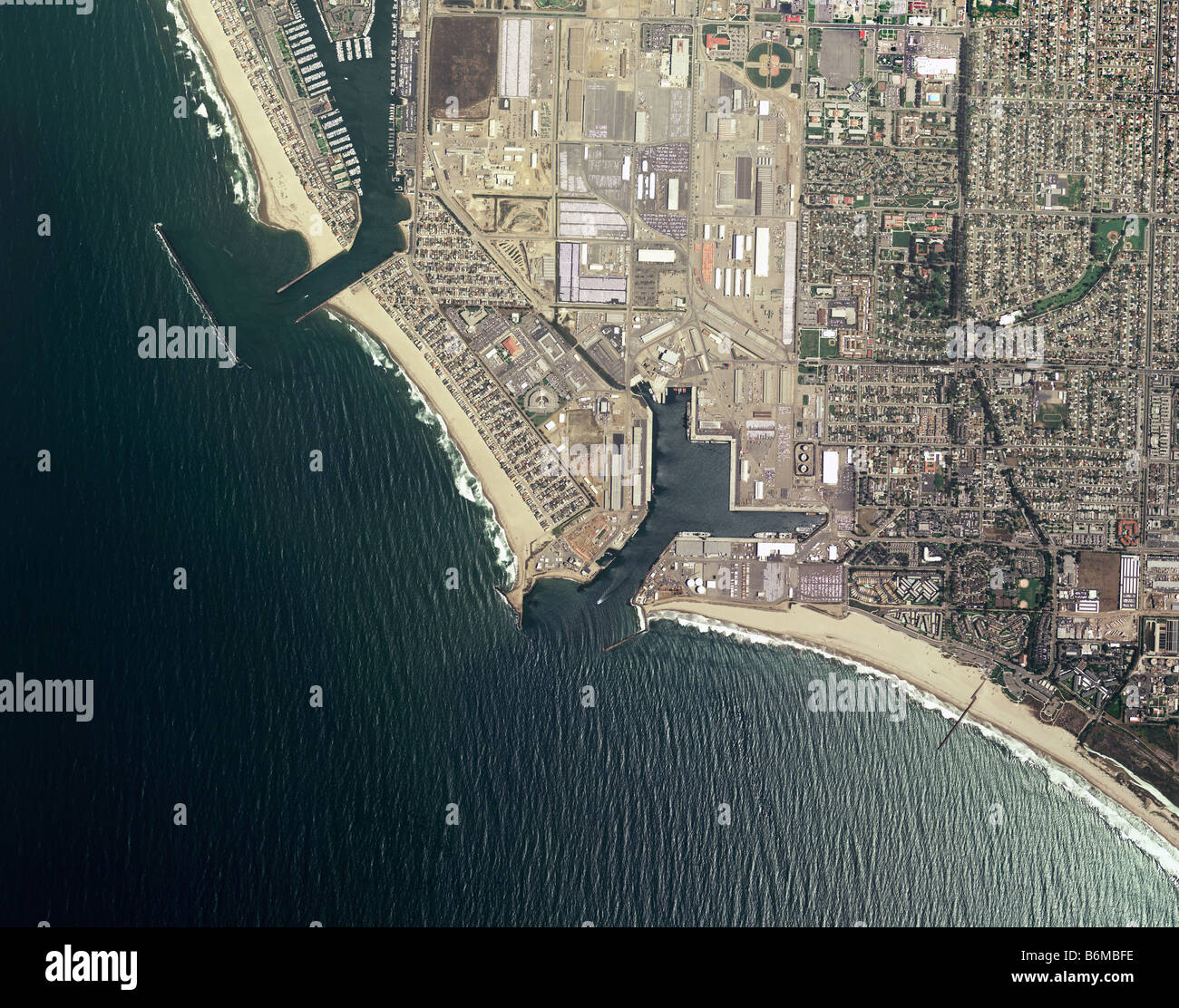Aerial Map of Port Hueneme and Channel Islands Harbor Oxnard, Ventura County, California - Stock Image