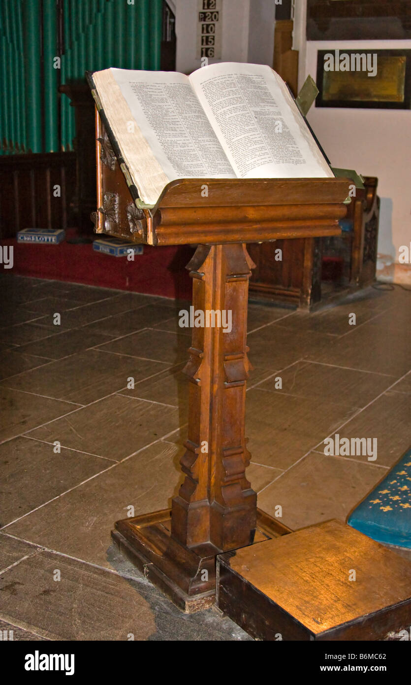 Lectern and bible in the 13th century Church of St Just in Roseland, Carrick, Cornwall - Stock Image