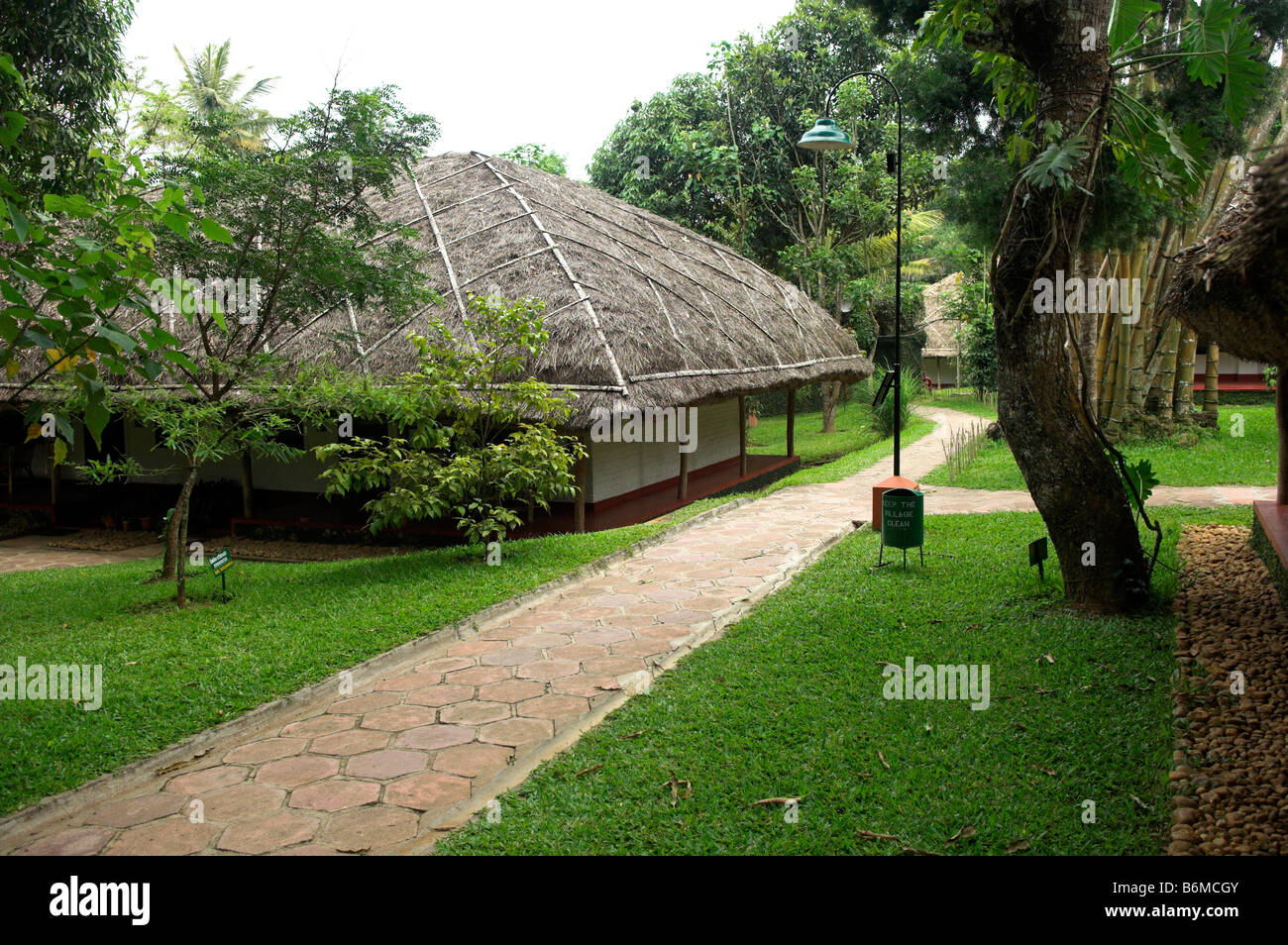 Cottage rooms at Spice Village Resort near Periyar Wildlife Sanctuary Kerala India - Stock Image