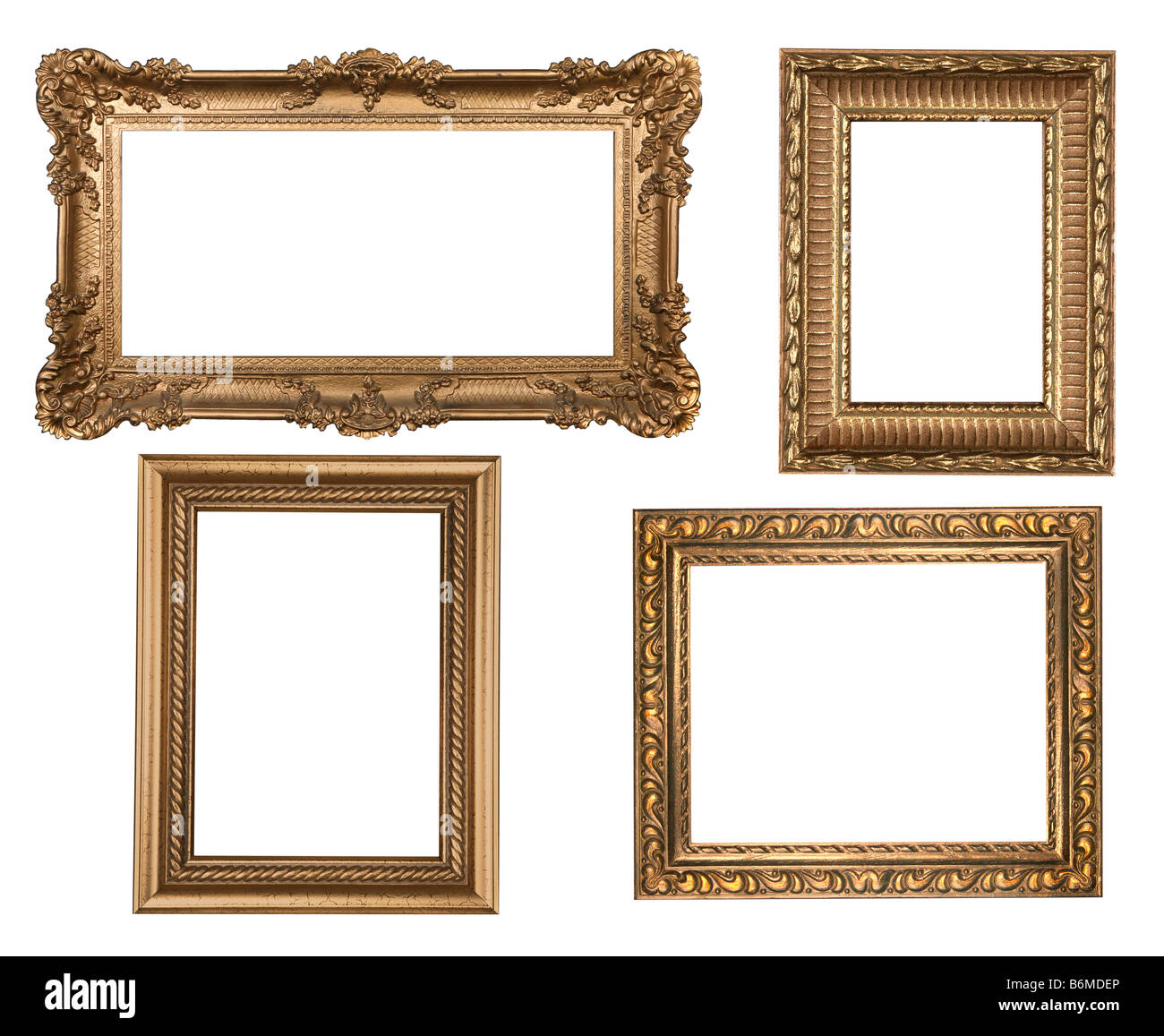 Decorative Gold Empty Wall Picture Frames Insert Your Own Design - Stock Image