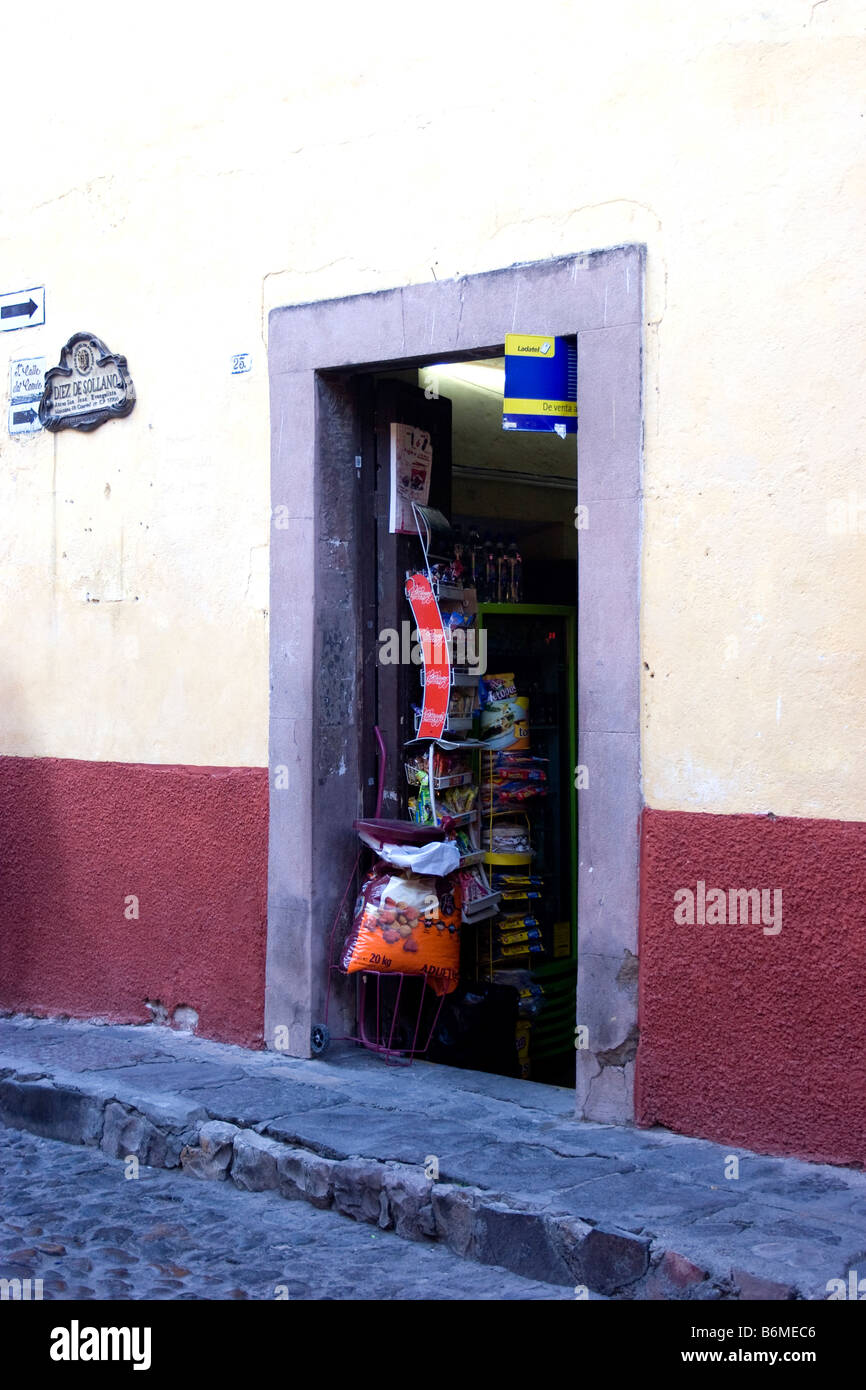 Front door of a small grocery store or tienda in San Miguel de Allende Mexico & Front door of a small grocery store or tienda in San Miguel de Stock ...