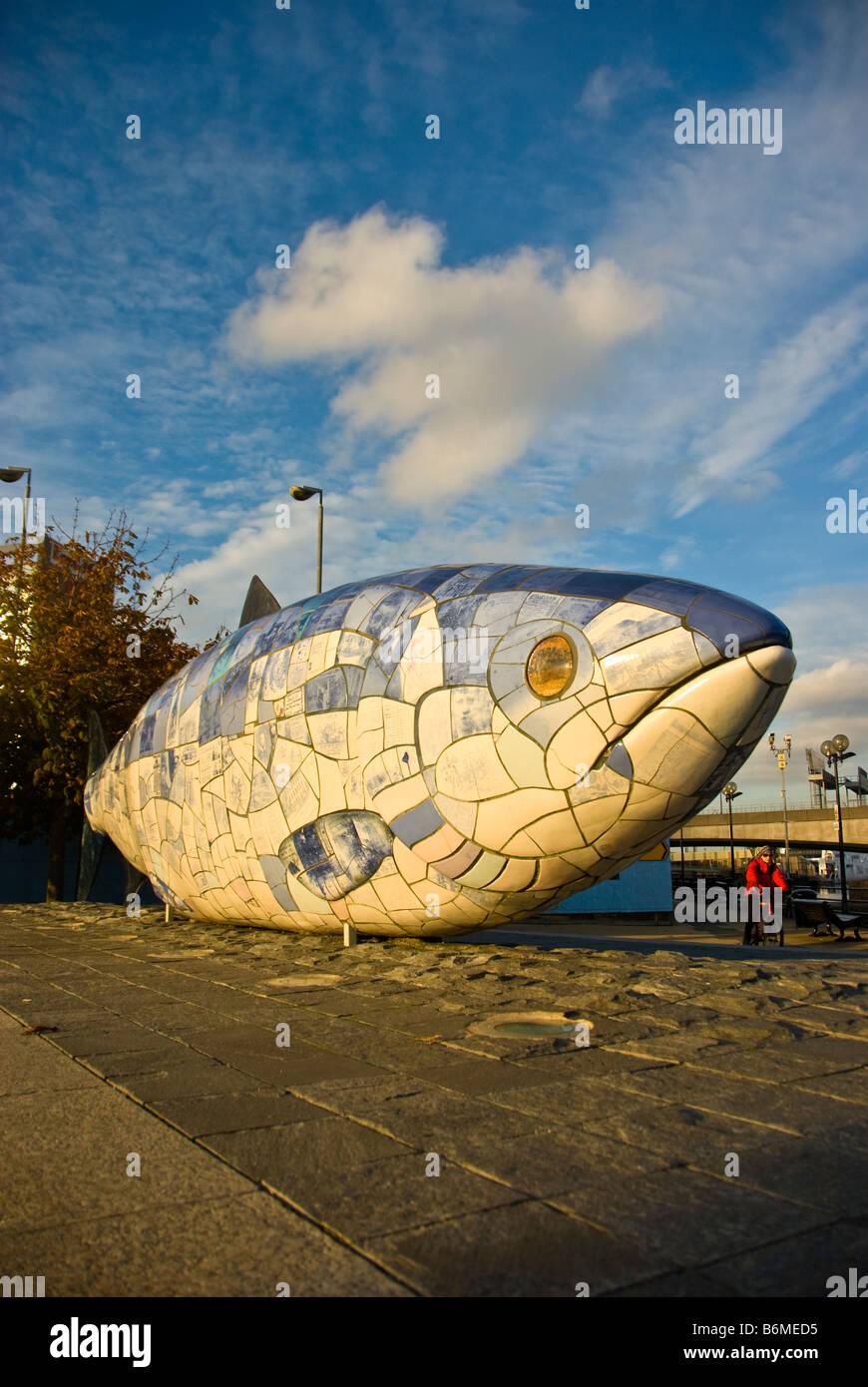 Belfast big fish sculpture public art popular tourist attraction Northern Ireland Waterfront lagan weir Laganside - Stock Image