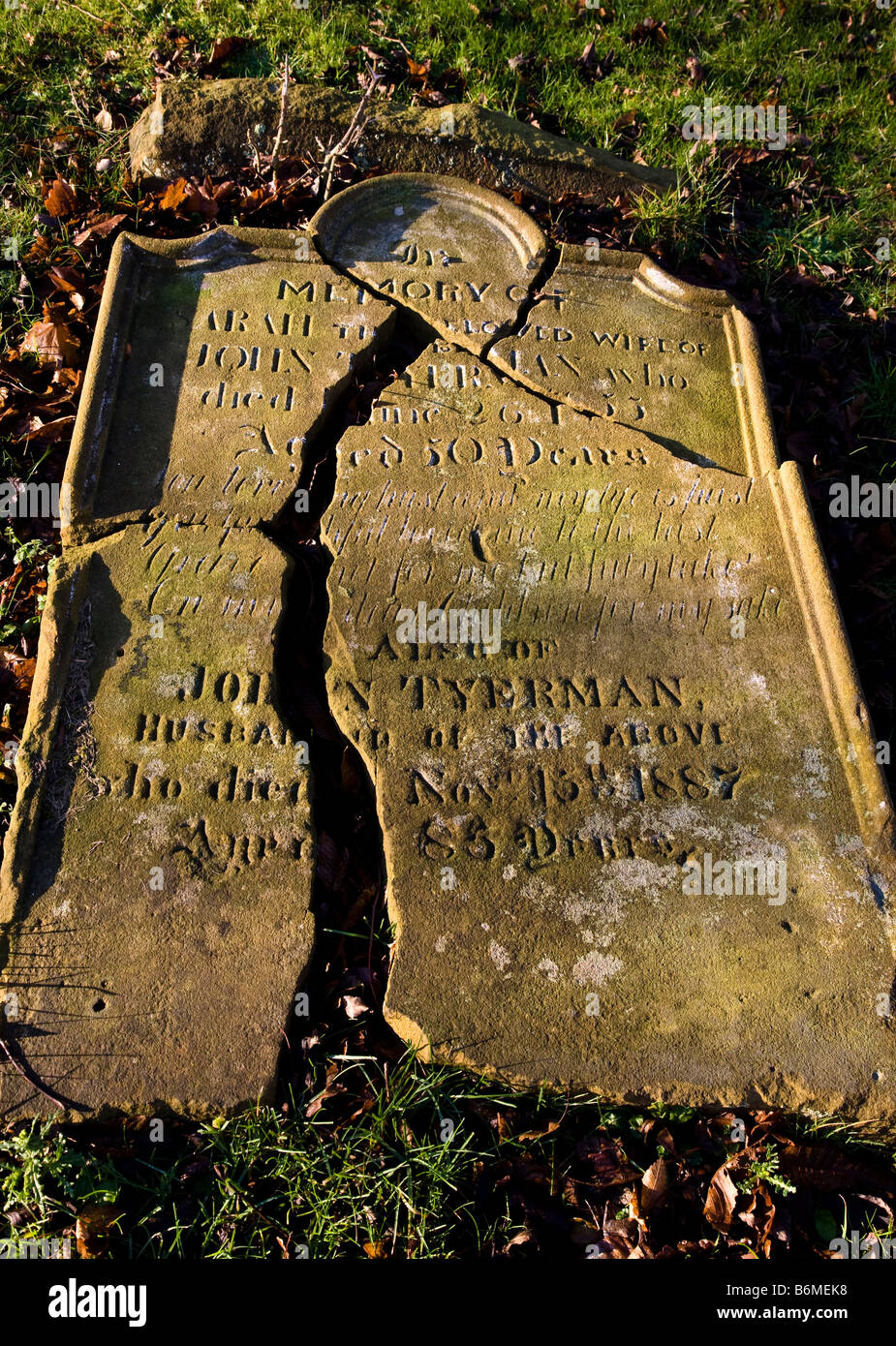 Broken Gravestone at St Andrews Little Church Upleatham near Guisborough - Stock Image