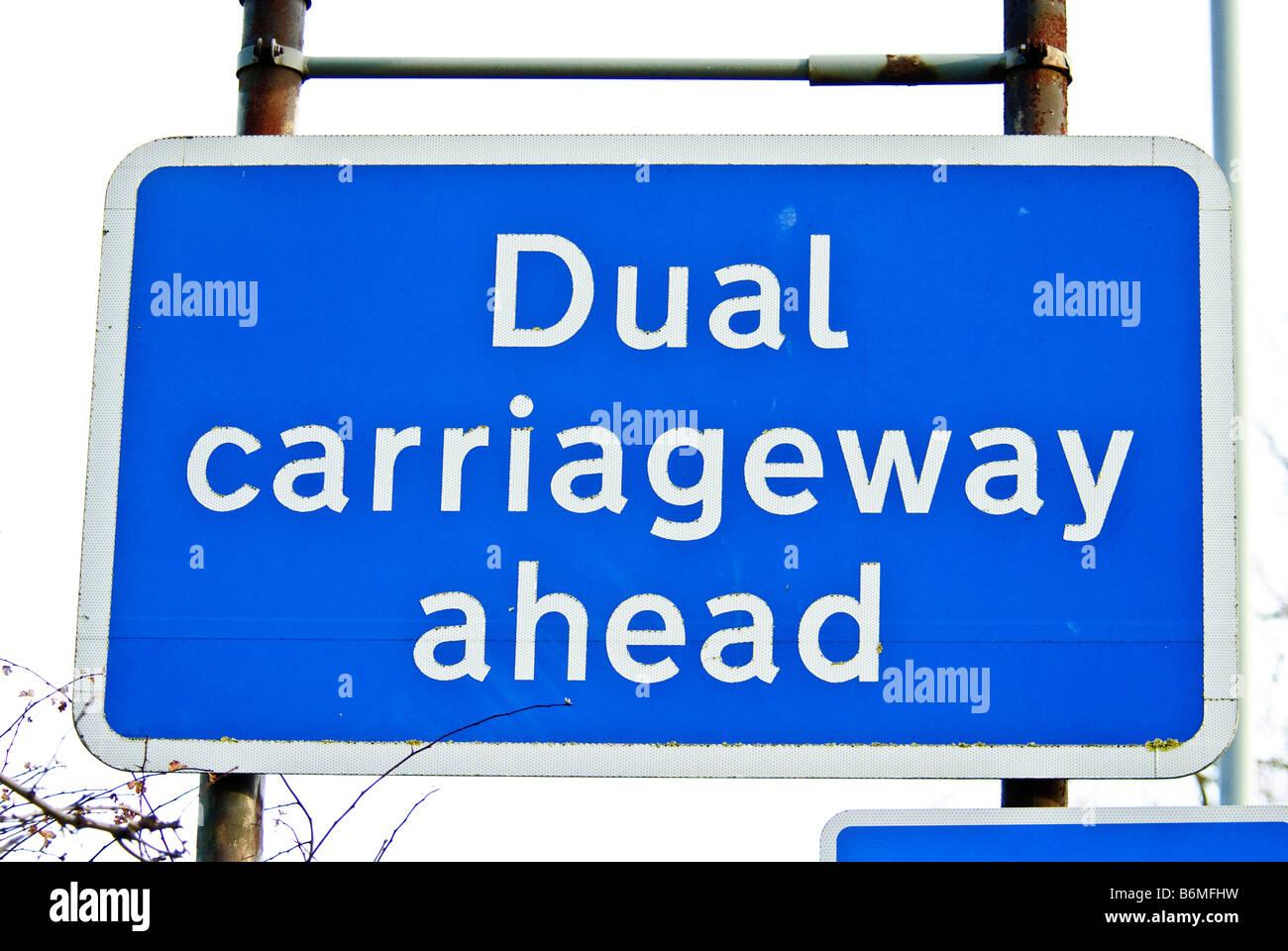 Dual carriageway road sign - Stock Image