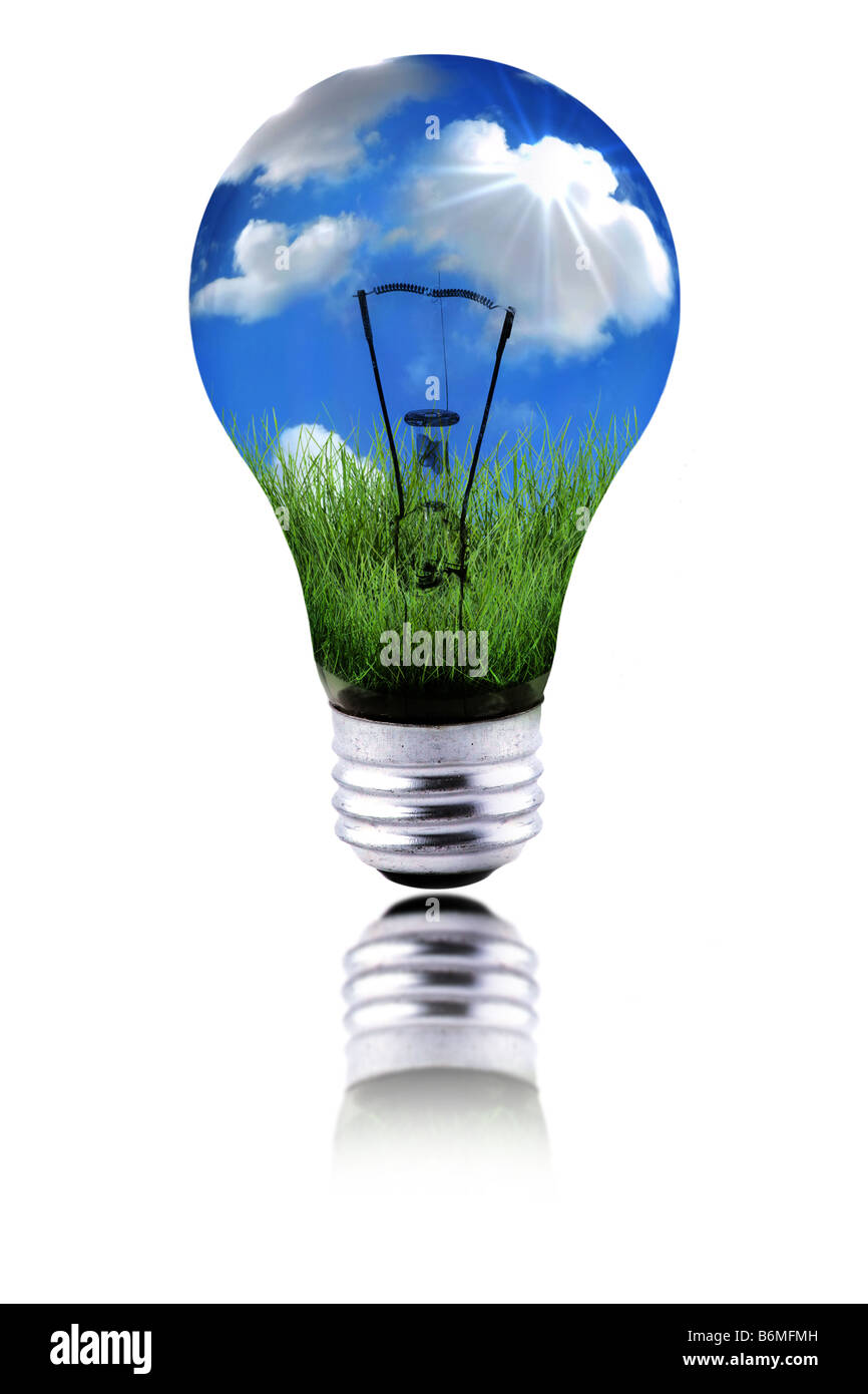 Global Concept of Healthy Planet Using Green Energy to Function - Stock Image