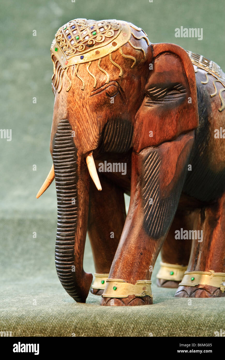 Wooden carved elephant - Stock Image