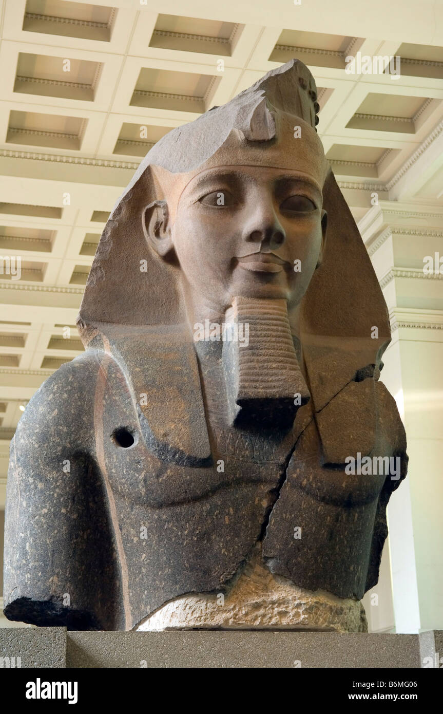Statue of Rameses II (Younger Memnon) removed from the Ramesseum at Thebes by Giovanni Battista Belzoni, British - Stock Image
