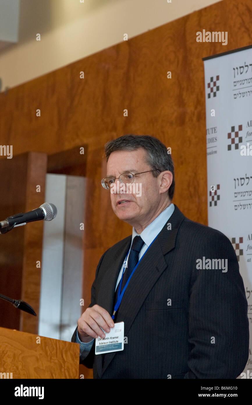 Dr. Martin Kramer, Middle East expert,at the Adelson Institute for Strategic Studies' Dec. 2008 counterinsurgency Stock Photo