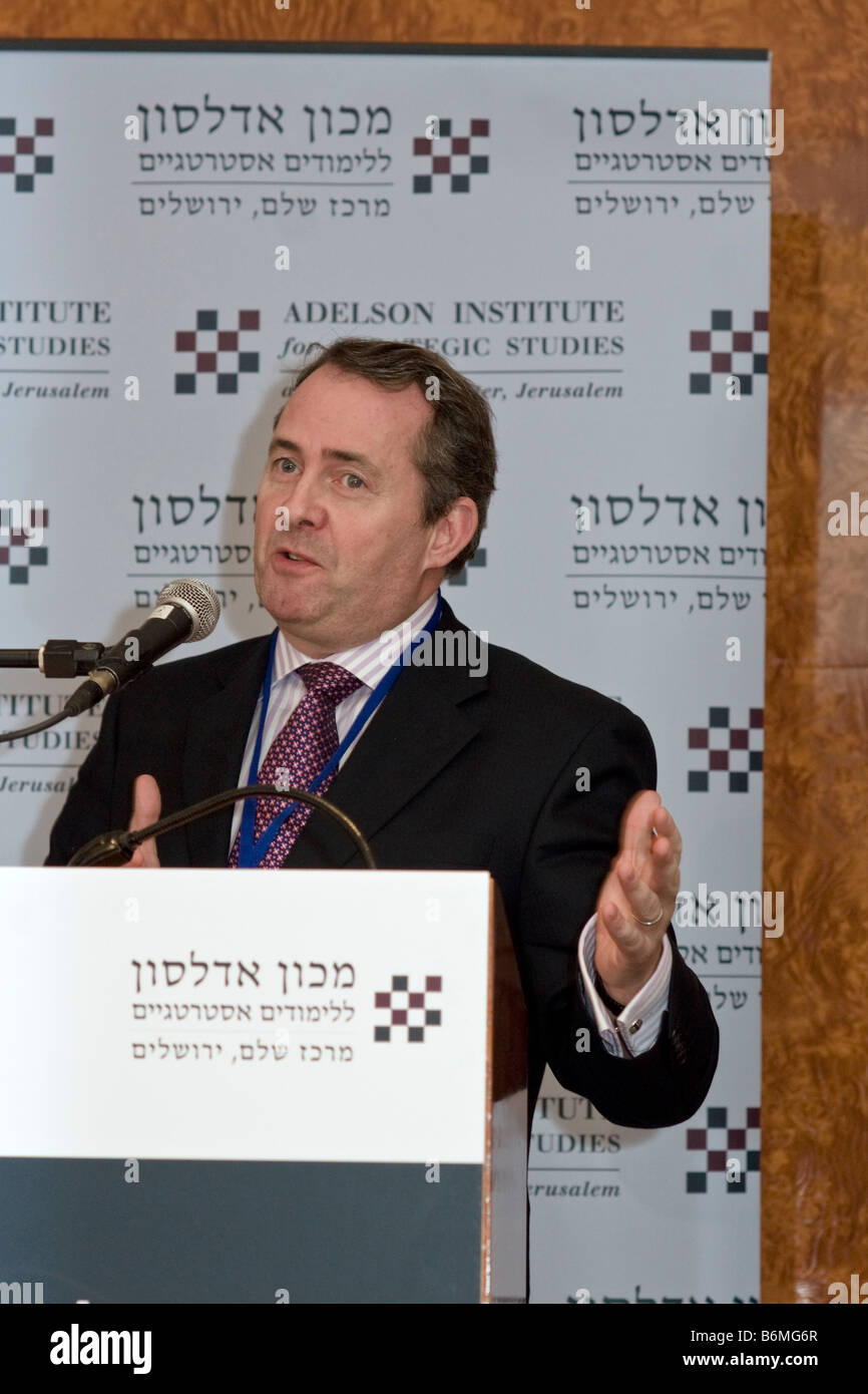 Liam Fox, Shadow Minister for Defence and Chairman of the British Conservative party, speaks at Counterinsurgency Stock Photo