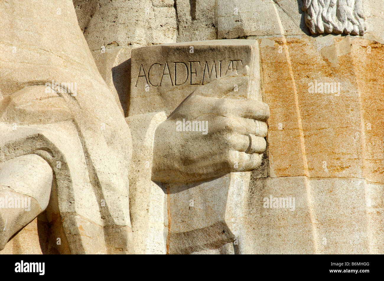 Detail of the sculpture of Theodore Beza with a book in his hand, Wall of Reformers, Geneva, Switzerland - Stock Image