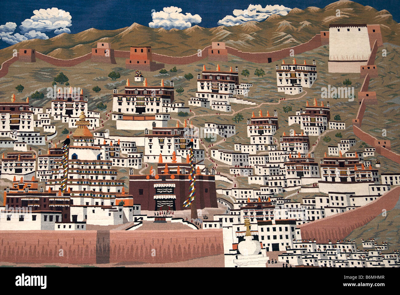 woven tapestry depicting Gyantse old town withing the boundary walls. Tibet - Stock Image
