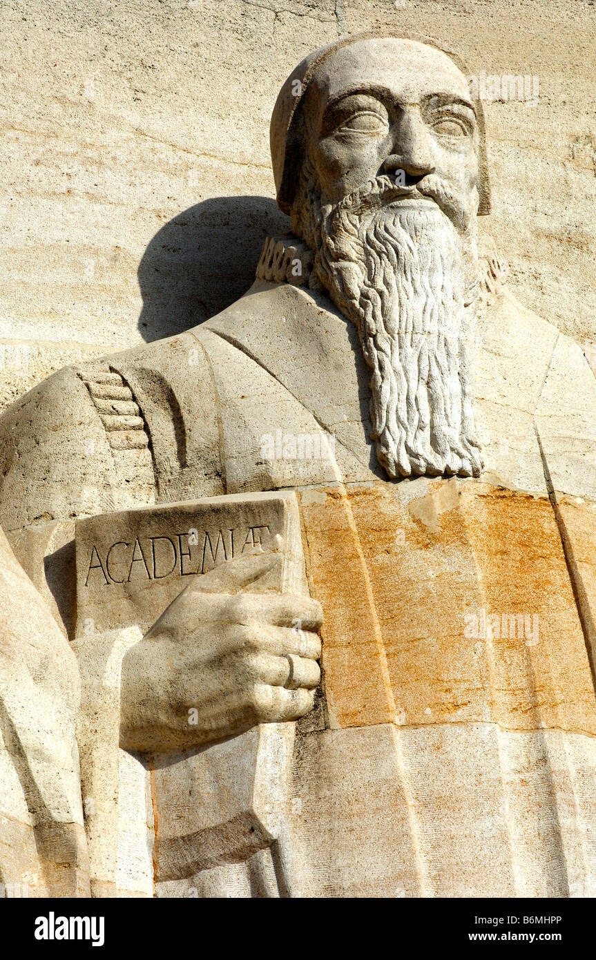 Sculptur of Theodore Beza with a book in his hand International Monument to the Reformation in Geneva Switzerland - Stock Image