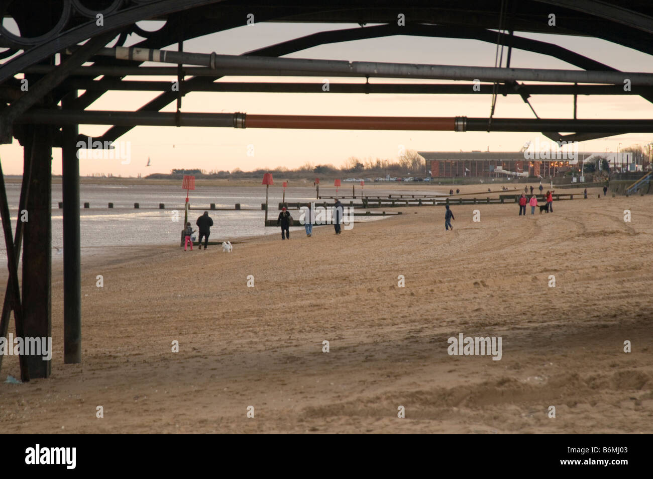 cleethorpes north east Lincolnshire beach seaside town pier cold winter day rundown seaside sea side coast day out Stock Photo