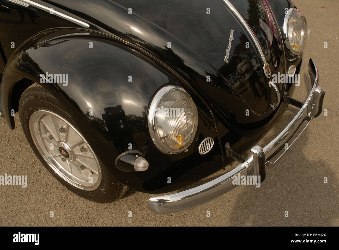 Front fender detail from classic 1954 oval window vwbeetle - Stock Image