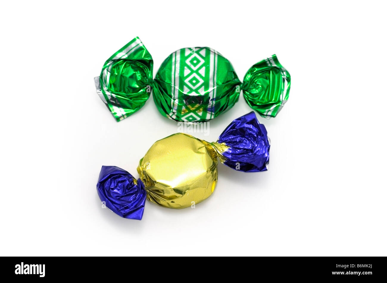 Two Sweets (Candies) in Wrappers - Stock Image