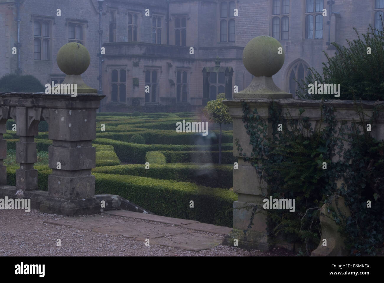 Newstead Abbey in Fog with Ghost Child - Stock Image