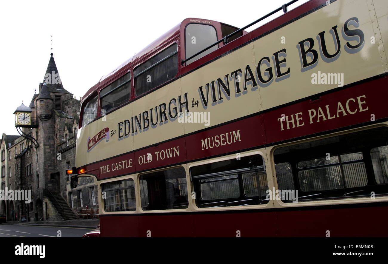 One of the many tour buses in Edinburgh Scotland This one on the Royal Mile Stock Photo